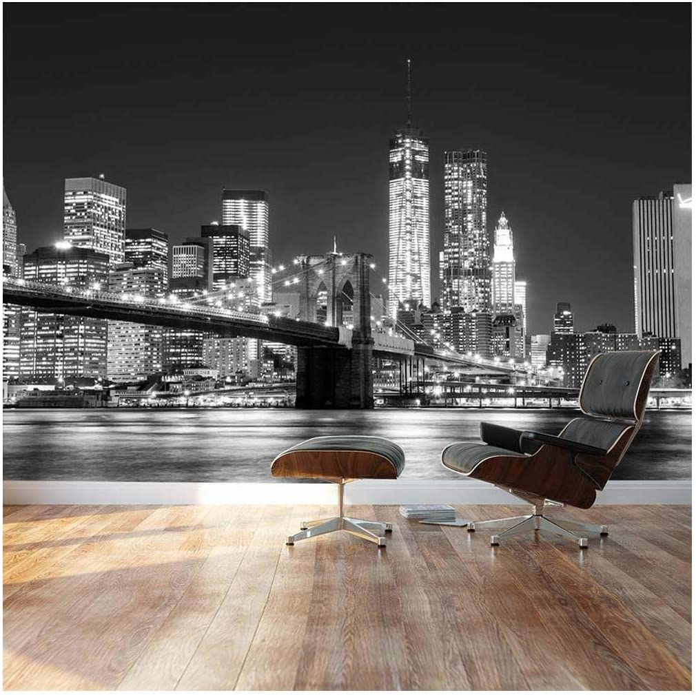 Wall26 - Black and White Manhattan Skyline and Brooklyn Bridge - Landscape - Wall Mural, Removable Sticker, Home Decor - 66x96 inches