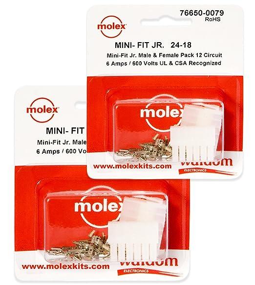w//18-24 AWG  w// Pins Mini-Fit Jr ™ Molex 12 Pin Connector Lot 1 Matched Sets