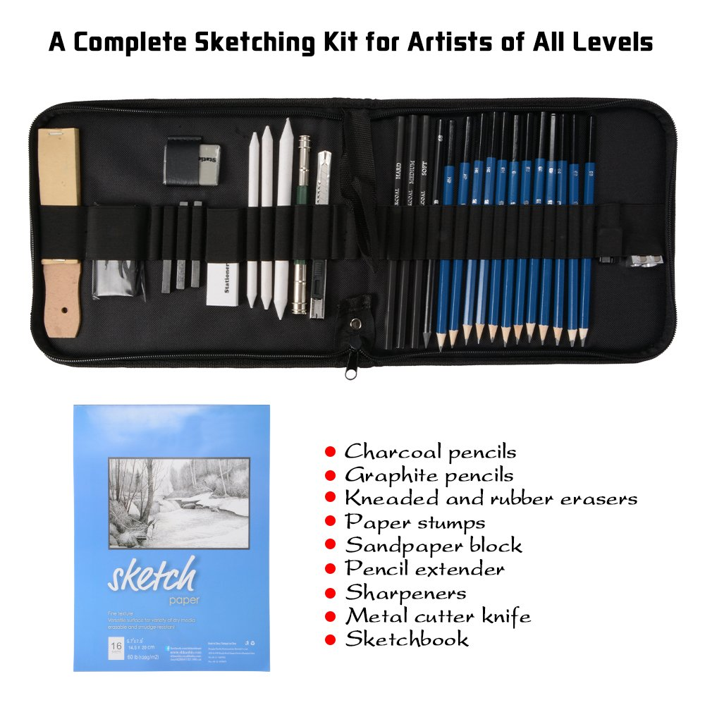 XCSOURCE 33pcs Drawing Sketching Pencil Set with Charcoal Pencil, Graphite Pencil, Carbon Rod, Paper Pencil, Eraser, Sandpaper and Sketchbook AC787
