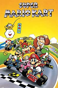 Pyramid America Super Mario Kart Super Nintendo SNES Go Kart Racing Video Game Luigi Princess Peach Cool Wall Decor Art Print Poster 24x36