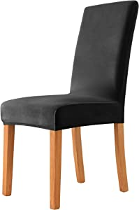 MILARAN Velvet Chair Covers for Dining Room, Soft Stretch Seat Slipcover , Washable Removable Parsons Chair Protector, Set of 2, Black
