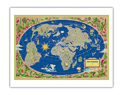Amazon.com: World Map Planisphere - France - Le Plus Grand Réseau du ...