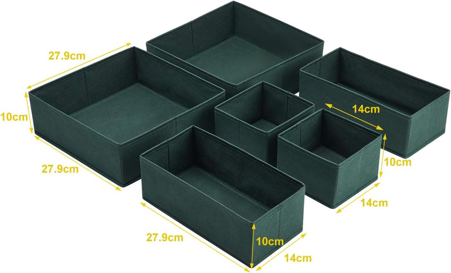 Kleiderschrank Schubladen Organizer Ordnungsbox f/ür Unterw/äsche BH Dessous Socken Stoffbox Faltbox in 6er Set -Dunkelgr/ün MaidMAX Aufbewahrungsbox Schubladen Ordnungssystem
