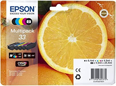 Epson c13t33374011 Cartuchos de Tinta original Pack of 5 válido para los modelos XP-530, XP-540, XP-630, XP-635, XP-640, XP-645, XP-830, XP-900 y otros, Ya disponible en Amazon Dash Replenishment: Epson: Amazon.es: Oficina