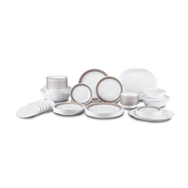 Corelle Livingware 74 Piece Sand Sketch Dinnerware Set with lids, White