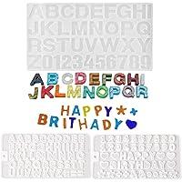 Molde de letras para chocolate, paquete de 3 moldes de silicona con números de resina, moldes de chocolate epoxi, letras…