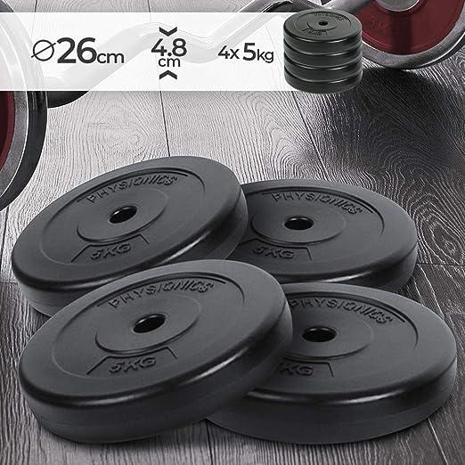 Physionics Barras de mancuerna (roscada, 5 kg por Disco, 20 kg en Total, Agujero de Disco Ø 27 mm, con Revestimiento plástico)
