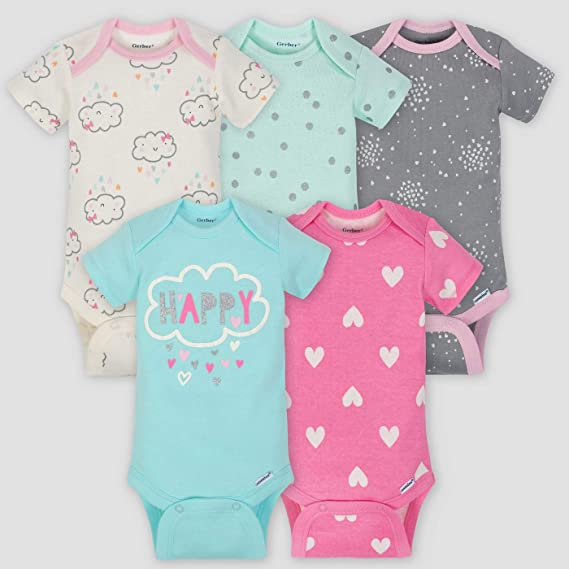 ddde2ccc91dc Gerber Baby Girls  5 Pack Variety Onesies  Amazon.co.uk  Clothing