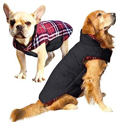 ROZKITCH Albabara Dog Coat British Style Plaid Dog Winter Vest Cozy Waterproof Windproof Reversible Dog Jacket Pet Dog Cold Weather Clothes Warm Dog Apparel