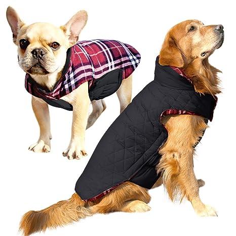 a7802778c083 Albabara Dog Coat British Style Plaid Dog Winter Vest Cozy Waterproof  Windproof Reversible Dog Jacket Pet