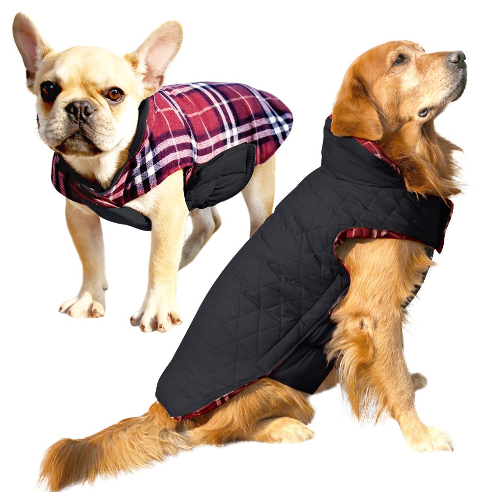Albabara Dog Coat British Style Plaid Dog Winter Vest Cozy Waterproof Windproof Reversible Dog Jacket Pet Dog Cold Weather Clothes Warm Dog Apparel for Small Medium Large Dogs (XS - 3XL )