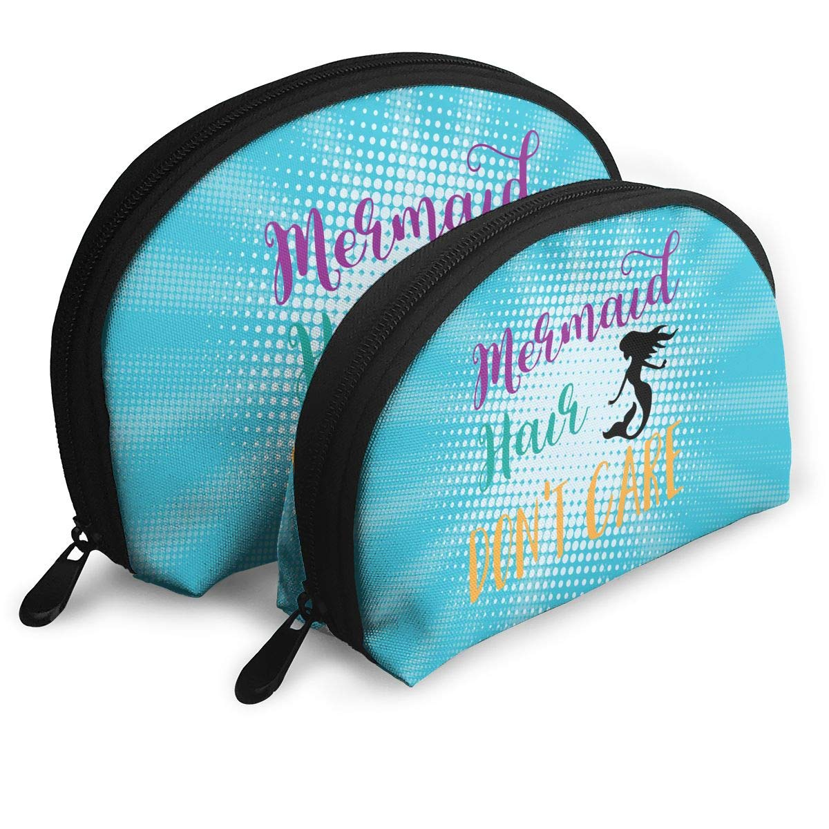 Gol Saly Funny Mermaid Hair Don't Care SVG File Pack of 2 Portable Travel Makeup Cosmetic Bags Organizer Multifunction Clutch Pouch Case Kit Toiletry Bags for Women