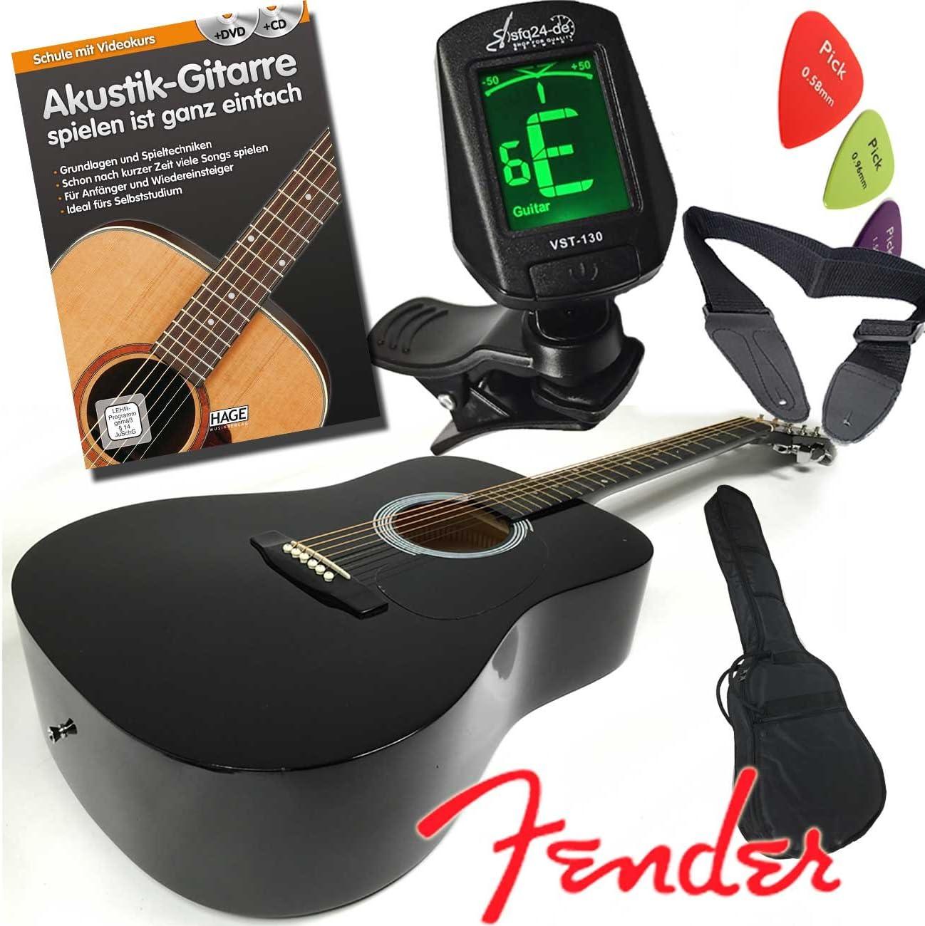 Fender Squier Set de guitarra acústica (con caja acorazada, color negro), libro de aprendizaje con CD y DVD (en alemán), bolso, afinador LED, cinturón: Amazon.es: Instrumentos musicales