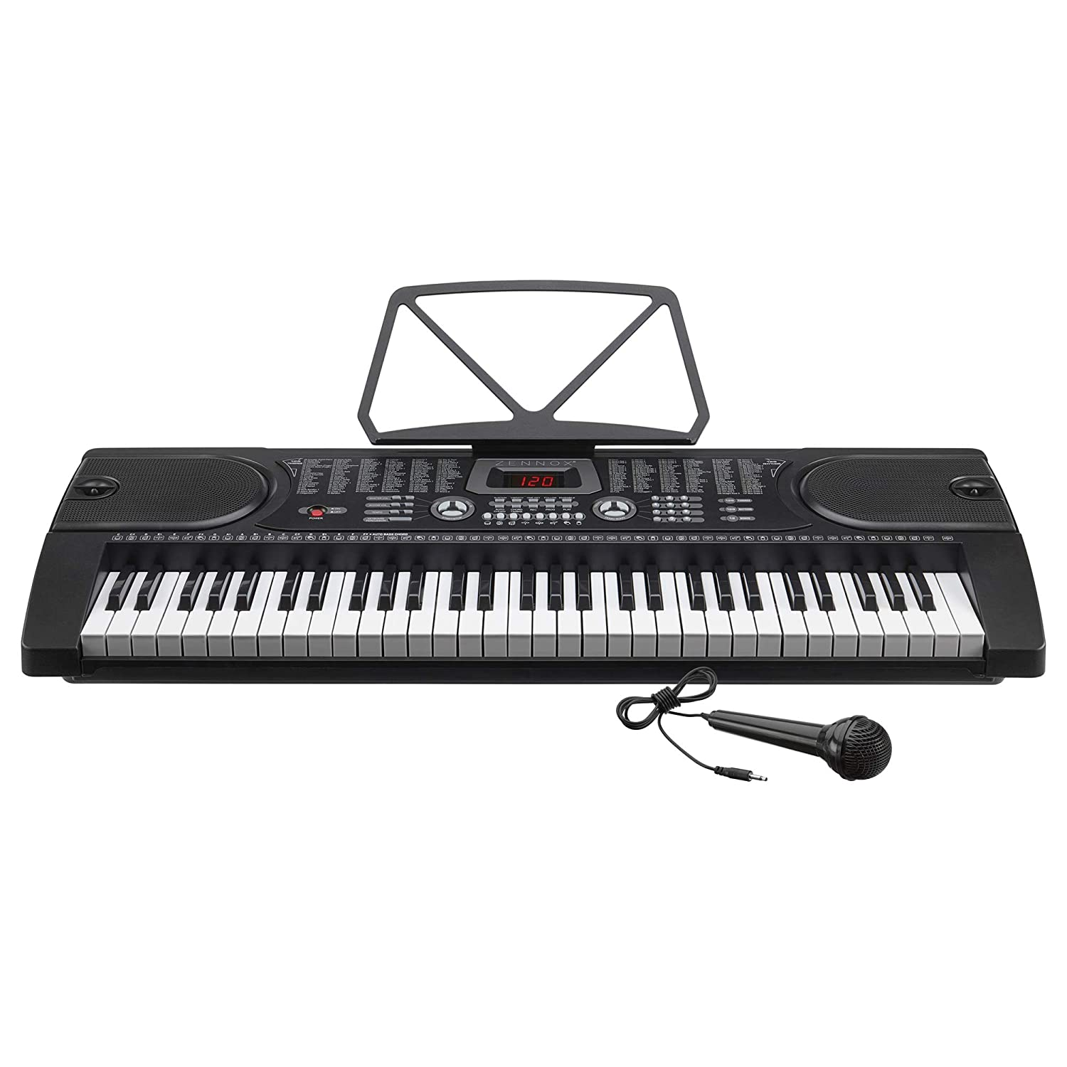 Zennox Electronic Keyboard with Microphone 61-Key Piano, LCD Screen,  Perfect for Beginners (61 Key Electric Keyboard)