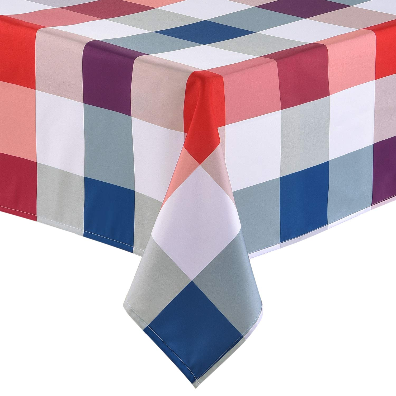Sunm Boutique Tablecloth Festive Red, White and Blue Heavy Weight Tablecloth Plaid Tablecloth 4th of July Outdoor Tablecloth Decorative Washable Picnic Tablecloth