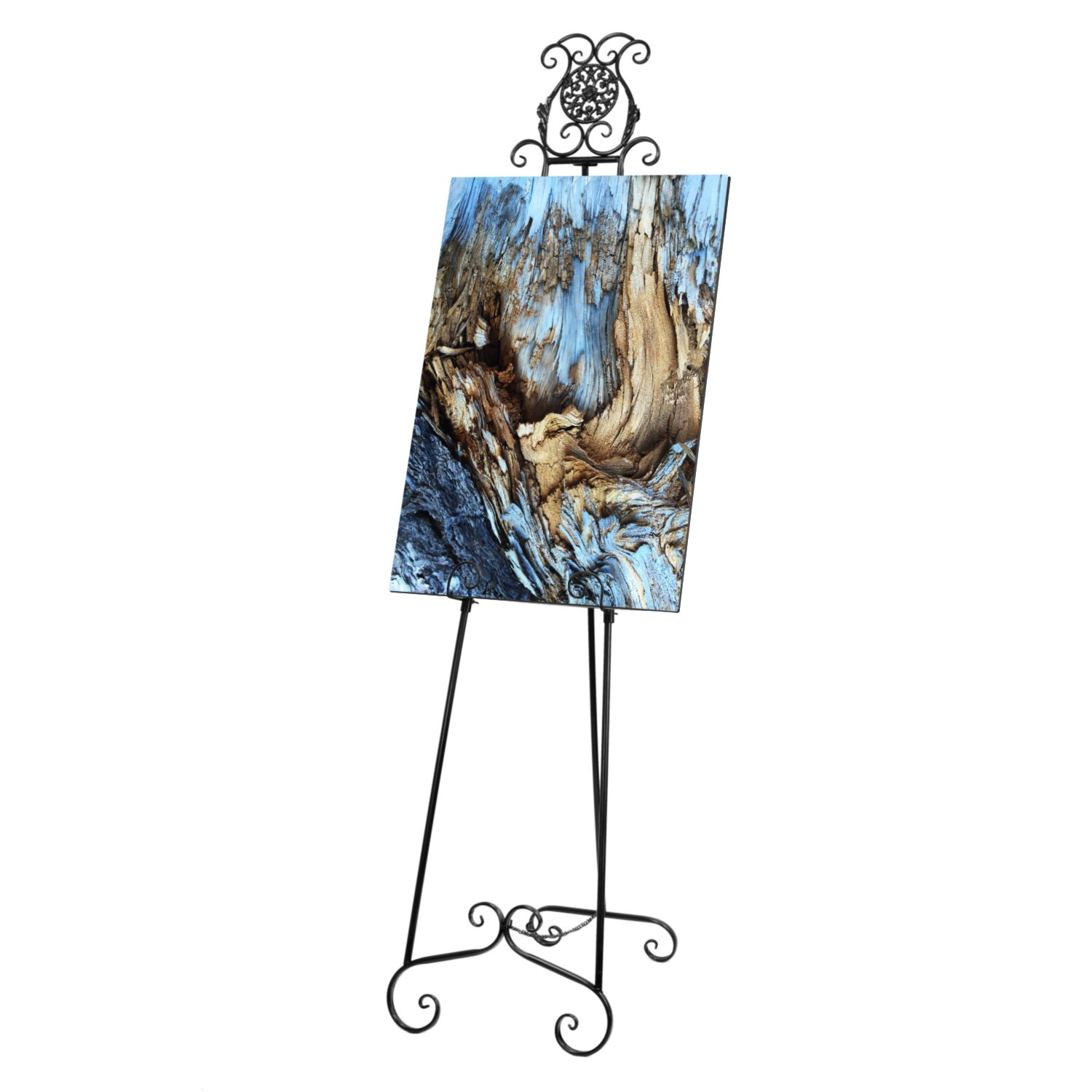 Source One Deluxe Large Metal Display Easel 70 Inches Tall, White, Brown & Black Available (Black)