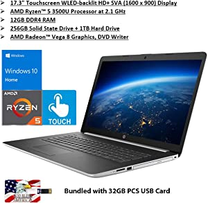 "2020 HP 17.3"" Touchscreen WLED Backlit HD Laptop AMD Ryzen 5 3500U 12GB DDR4-2400MHz SDRAM 256GB PCIe SSD + 1TB SATA HDD 2xUSB 3.1 1x HDMI Win 10 Bundled with 32GB PCS USB Card"