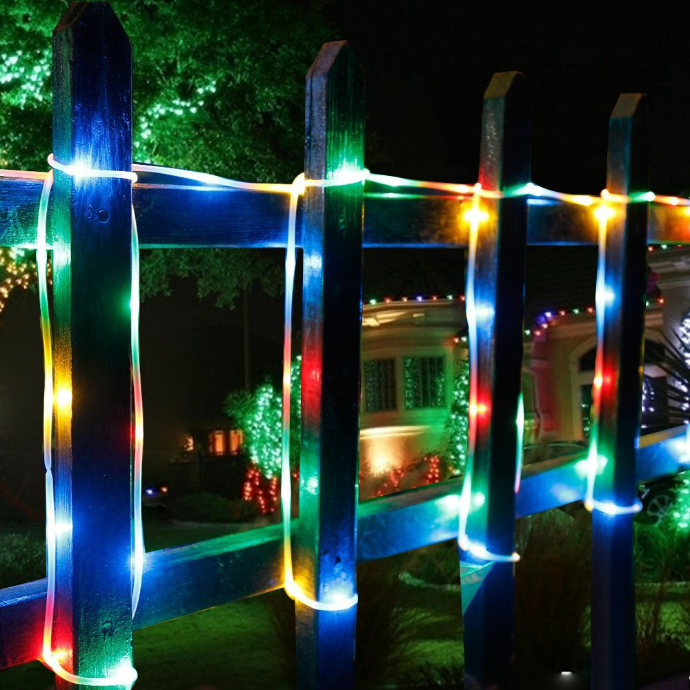LE 12m RGB LED Solarlichterkette mit Lichtsensor, 1,2 V 100 LEDs ...