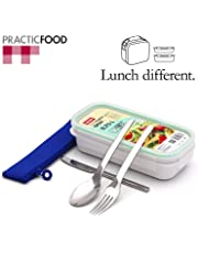 PracticFood - Set de Cubiertos Laken en Acero Inoxidable y Mantel Plegable Valira PlaceMat Anti Manchas