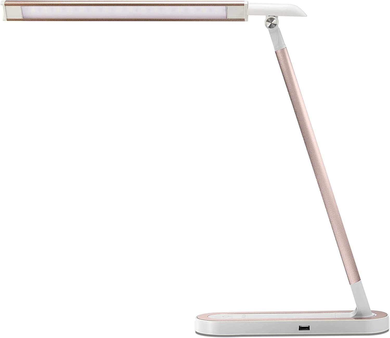 HDTIME Pink Desk Light Desk Lamp with USB Charging Port Touch Control 3 Lighting Modes with 3 Brightness Levels 32PCS LEDs for Home Office