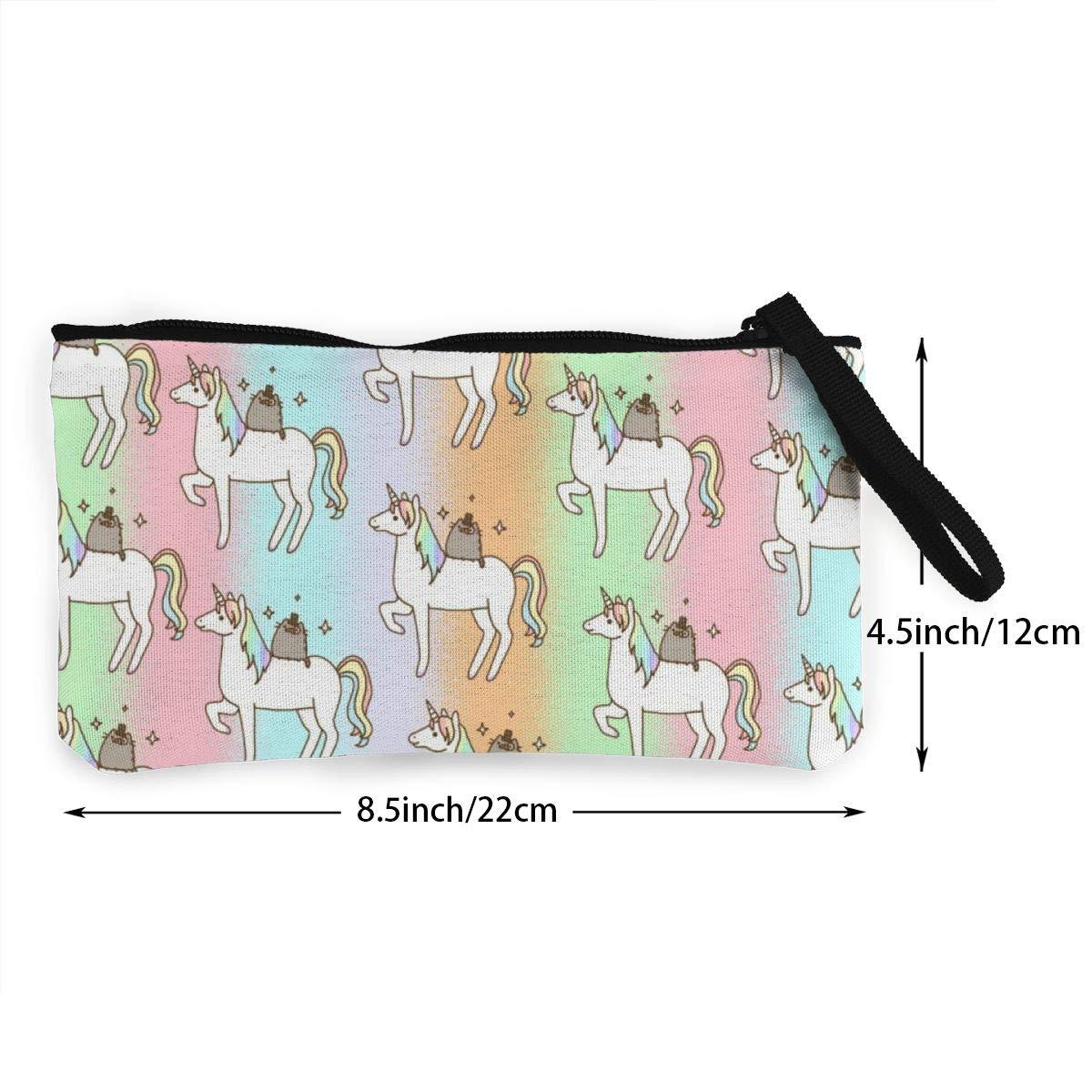 Push-een Cat Zipper Coin Purse Canvas Wallet Bag Change Purse Pouch Key Holder With Strap