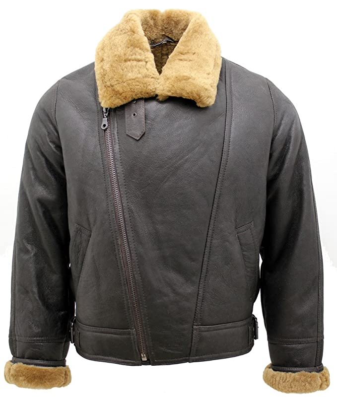 Mens Aviator Cross Zip Ginger Shearling Sheepskin Brown Leather Jacket