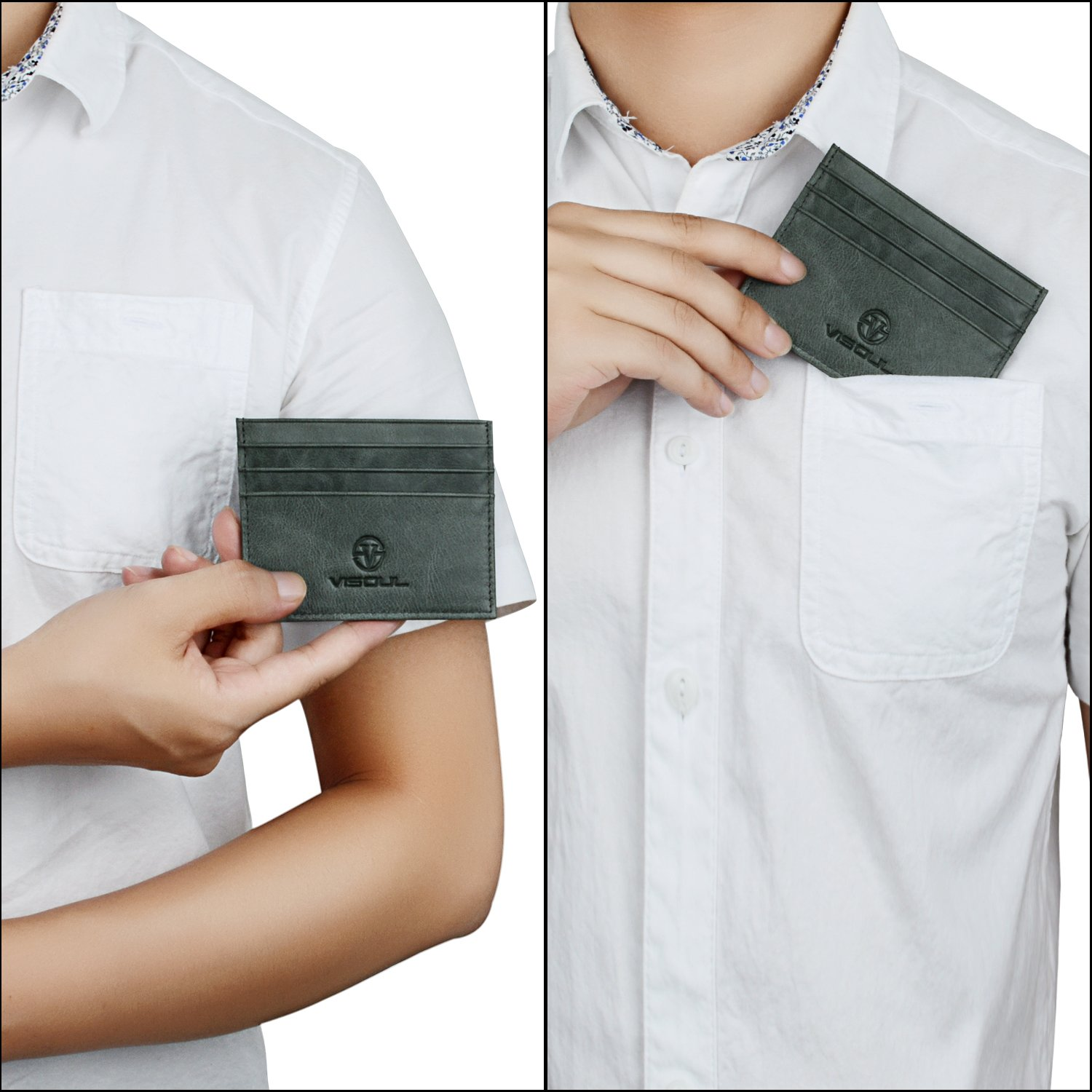 Slim Genuine Leather Credit Card Holder Coin Wallet ID Case