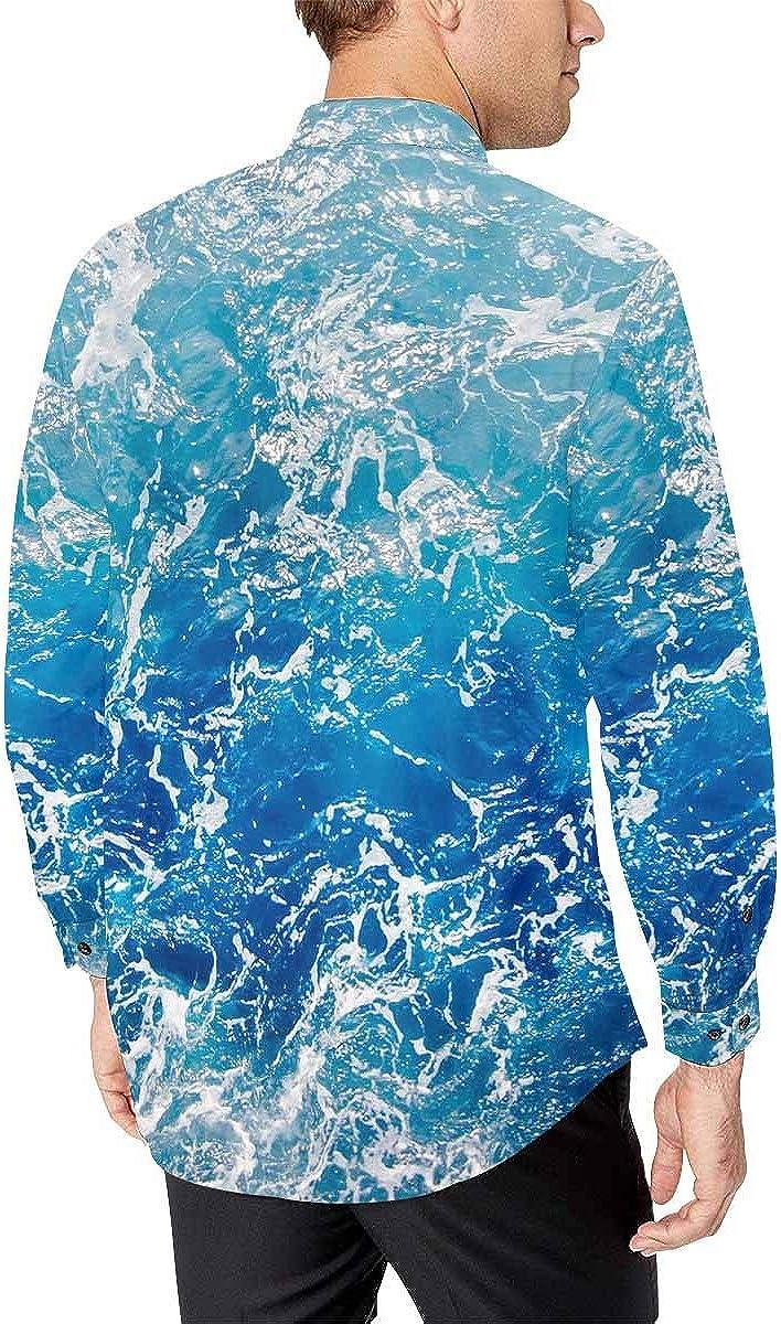 INTERESTPRINT Men Button Down Long Sleeve Hawaiian Printed Shirt Blue Sea Lake Water