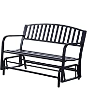 """Outsunny Steel Glider Bench Garden Rocking Chair Outdoor Patio Armchair 2 Seater 50"""" Black"""