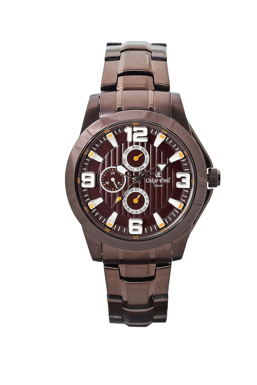 OskarEmil Classic Wellington Herren Quarz-Uhr mit braunem Zifferblatt - Analog-Anzeige - braun-vergoldetes Edelstahl-