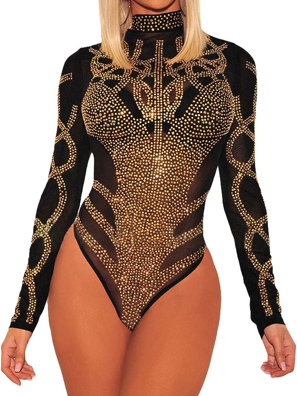 MAYFASEY Women's Long Sleeve Bodysuit Sheer Mesh Sexy Leotard Bodysuit Body Tops