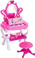 Qaba 2 In 1 Kids Piano Vanity Table Stool Princess Pretend Play Set With
