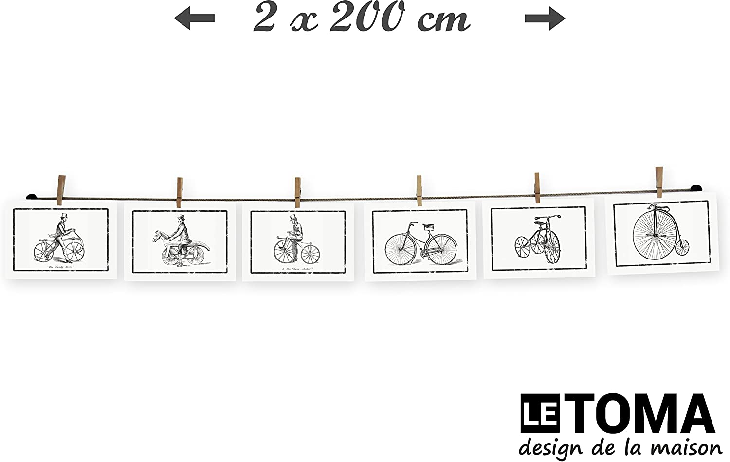 High-grade twine with wooden craft pegs for simple and fast fixation 2x50 LeTOMA 2x125 cm Photo string and pegs for a charming wall decoration natural hemp rope with 2x10 clips