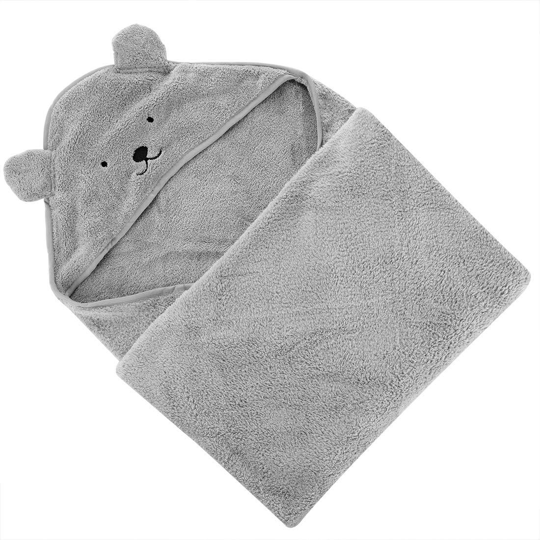 Pool or Swim LinkIdea 35 x 35 Kids Hooded Bath Towel Gray Beach Super Absorbent /& Quick-Dry Toddler Bath Beach Towels Washcloth Bathrobe for Girls Boys After Bath