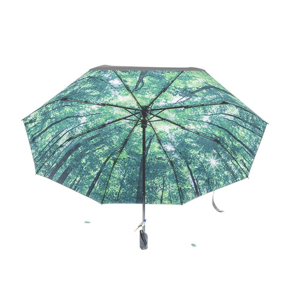 Tianqi Artistic Revestimiento negro Anti-UV Protección Solar Paraguas de Viaje Plegable UPF50 - Caminar en el bosque: Amazon.es: Hogar