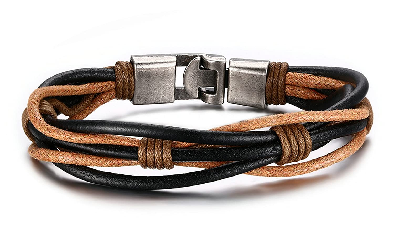 Herinos Men Women Vintage Leather Wrist Band Bracelet Bangle