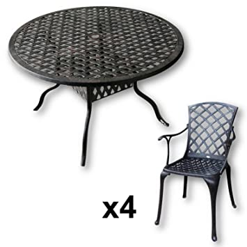Lazy Susan - Table ronde 120 cm SARAH et 4 chaises de jardin - Salon ...