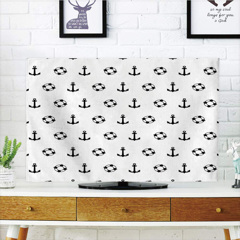 iPrint LCD TV dust Cover,Nautical,Maritime Theme Objects Anchors and Lifebuoys Pattern Navy Ocean High Seas,Black and White,3D Print Design Compatible 42'' TV