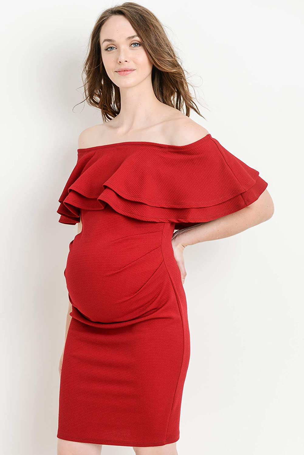 01ca19e58ed32 LaClef Women's Double Ruffled Fitted Off Shoulder Maternity Dress (Burgundy,  XL): Amazon.co.uk: Clothing