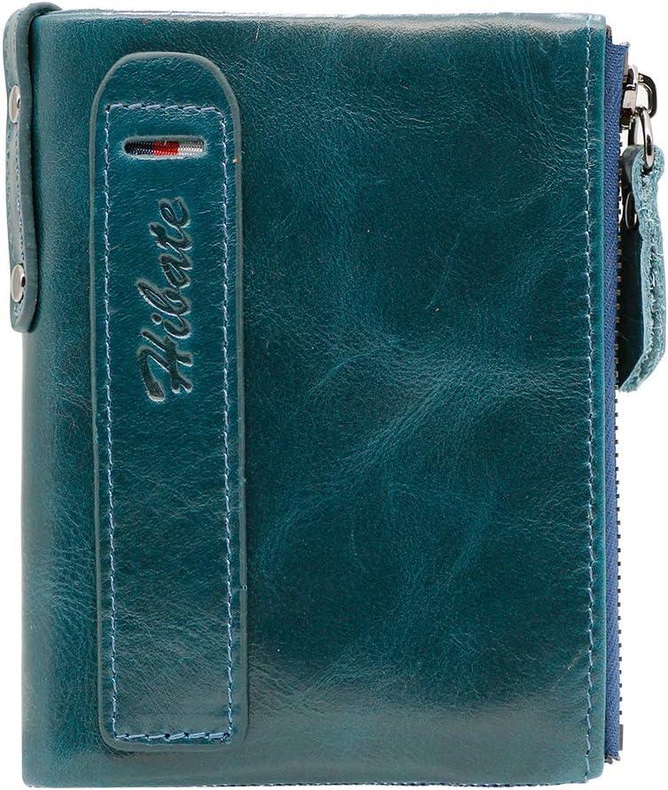Hibate (Azul) Cartera Cuero Hombre RFID Bloqueo Billetera Tarjetas de Crédito Carteras Piel Monedero