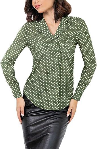 Blusas Mujer Vintage Moda Lunares Camisas Primavera Otoño ...