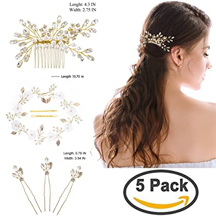 Handcess oro matrimonio set accessori per capelli strass forcine  fermacapelli fiore foglia vite fascia per capelli 5ed000d30491