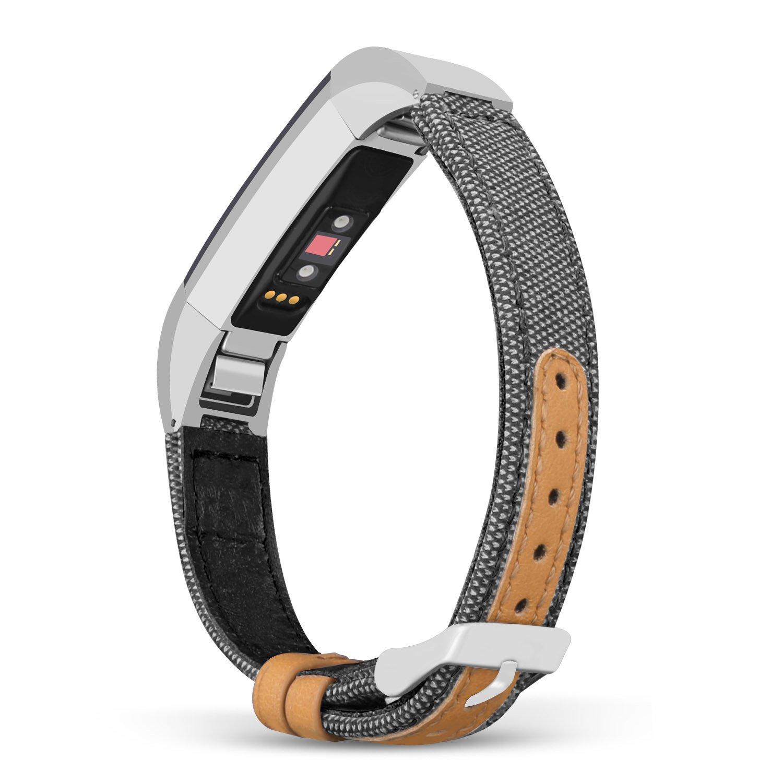 For Fitbit ALTAアルタHR /帯、jobeseクラシックキャンバスファブリックストラップwith Genuineレザーfor Fitbit ALTAアルタand HRフィットネストラッカーWristbands B07B4PDCXS 6.4-8.0 Inches/ 165-205mm グレー グレー 6.4-8.0 Inches/ 165-205mm