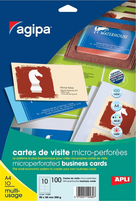 Apli 119480 100 Cartes De Visite 90mm X 50mm Blanc Amazonfr Fournitures Bureau