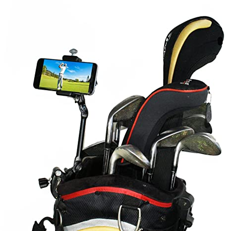 Review Golf Gadgets | Adjustable Bag Clamp Setup - Video Recording & Device Mounting System Using Your Phone. Capture Footage on the Course or Range. (Black Clamp)