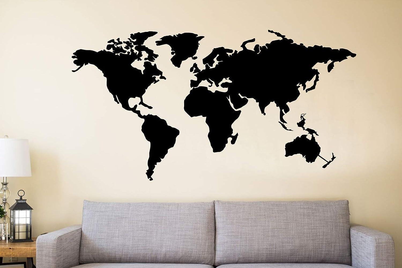 """DEKADRON Metal Wall Art, Metal World Map Continents, Metal Wall Decor, Interior Decoration, Metal Sign, 4 Pieces (59"""" Wx32 H / 150cmx80 cm)"""