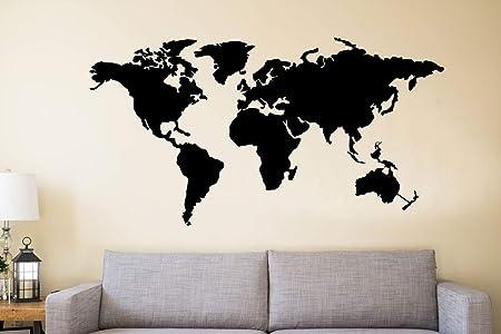 DEKADRON Arte mural de metal, mapa del mundo de los continentes, decoración de pared de metal, decoración interior, letrero de metal, 4 piezas: Amazon.es: Hogar