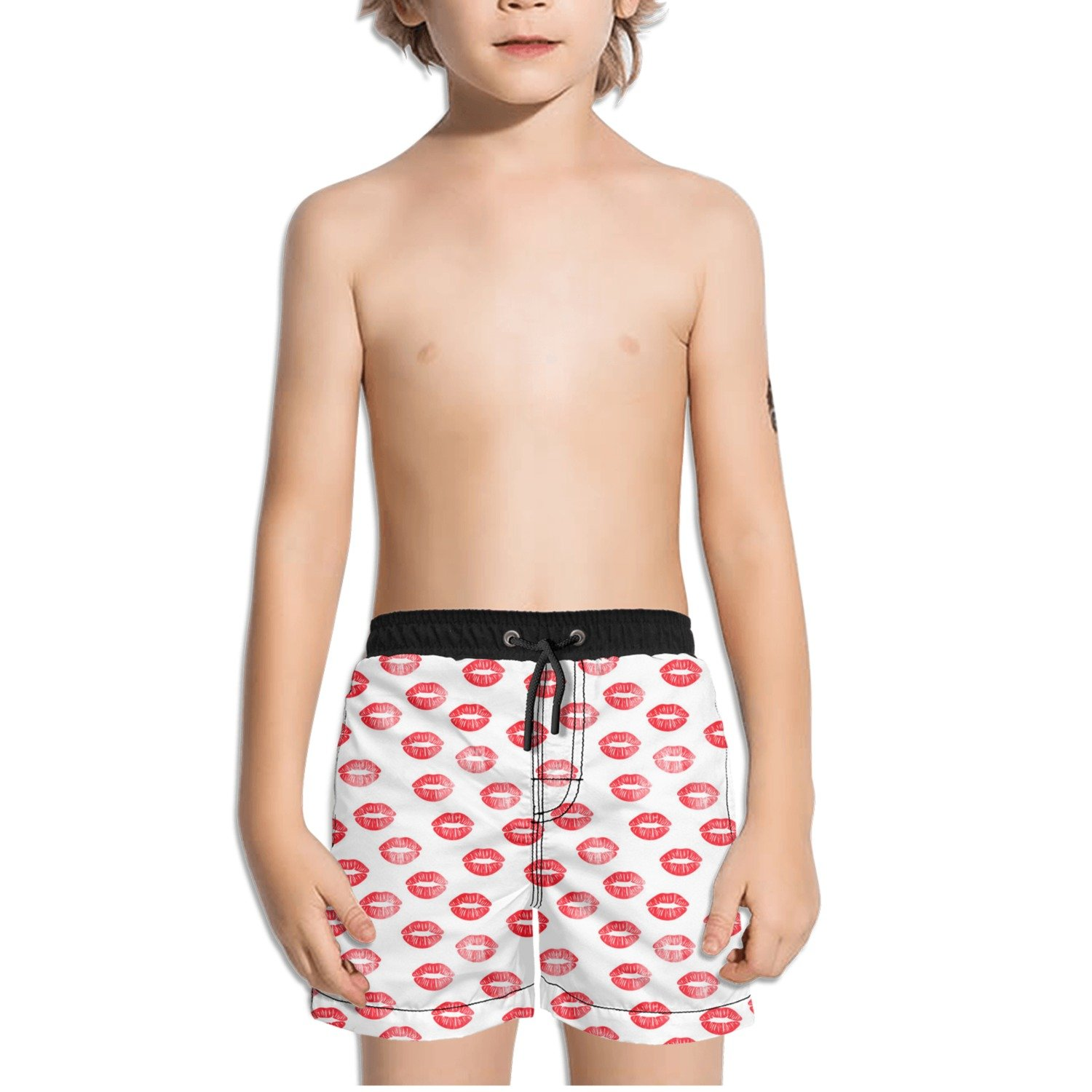 FullBo Red Kiss Lips Pattern Little Boy's Short Swim Trunks Quick Dry Beach Shorts