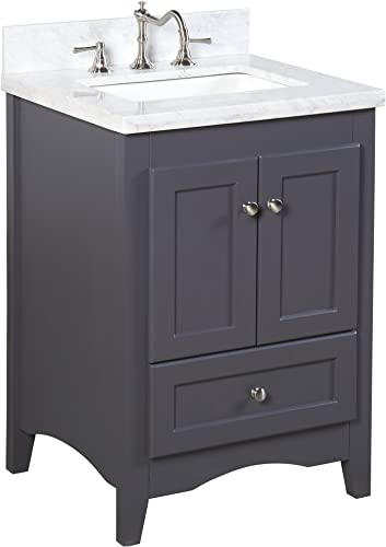 Abbey 24-inch Bathroom Vanity Carrara Charcoal Gray Includes a Soft Close Drawer