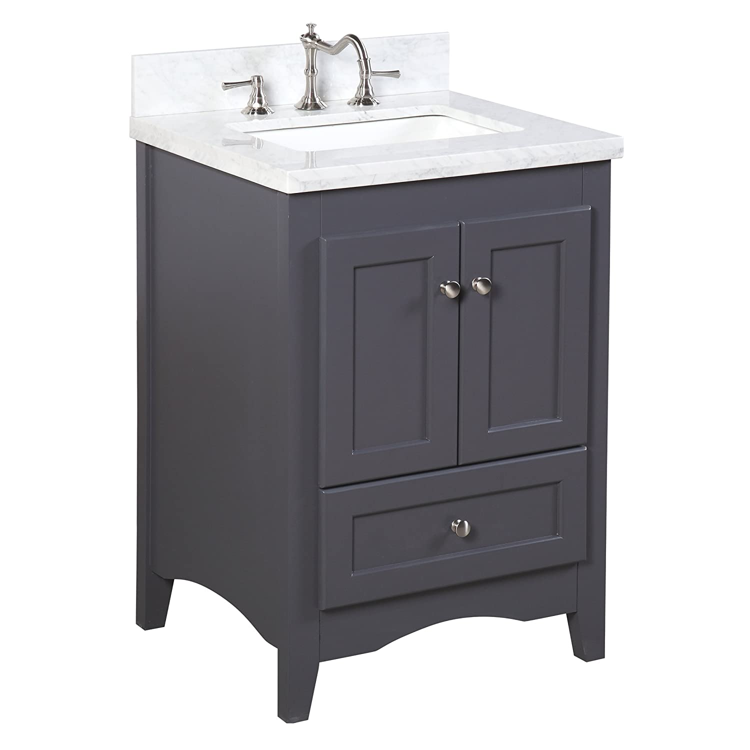 Abbey 24-inch Bathroom Vanity Carrara Charcoal Gray Includes a Soft Close Drawer, Self Closing Door Hinges and Rectangular Ceramic Sink